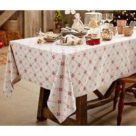 Velký ubrus na stůl, krémový s potiskem, cca 150 x 275 cm