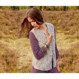 Pletená vesta s umělou kožešinou